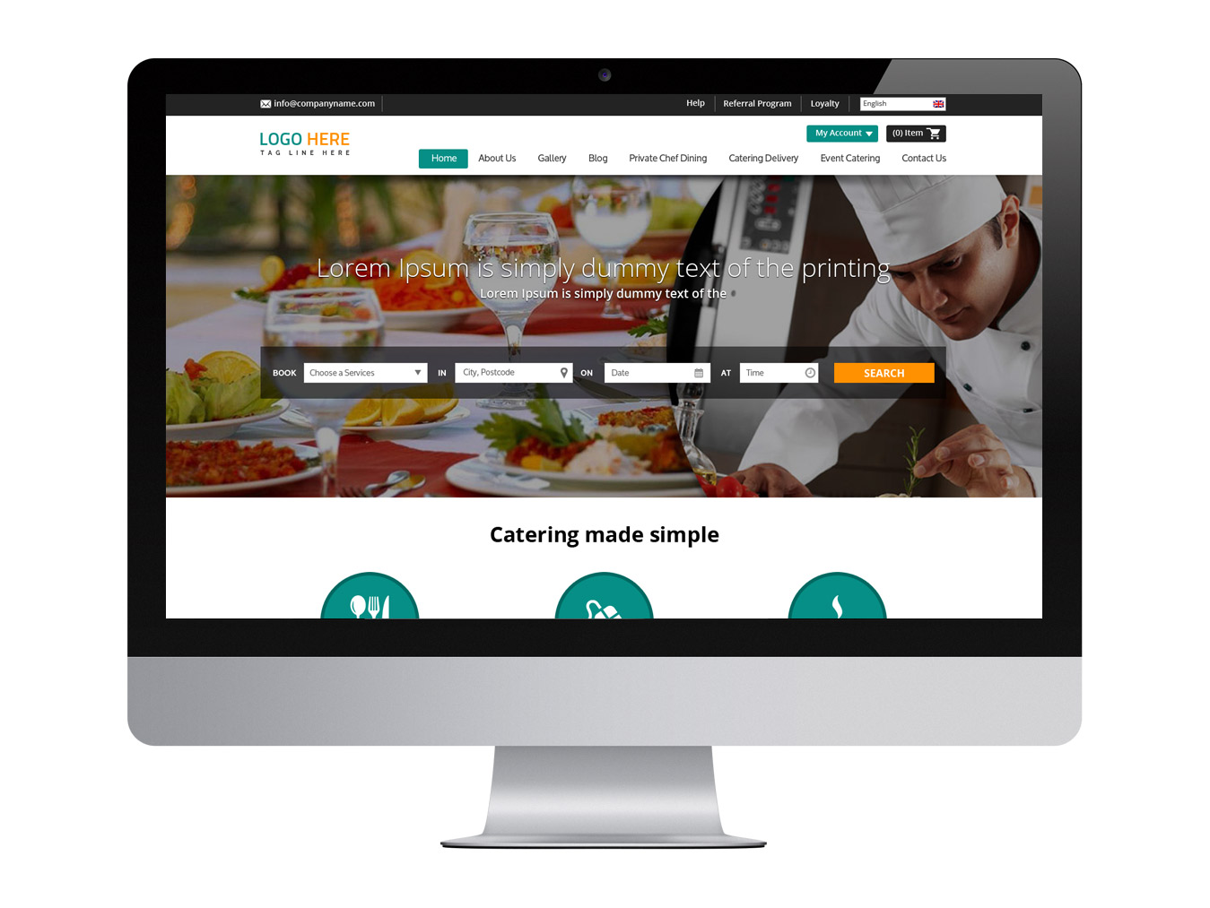 Restaurant website design template free psd