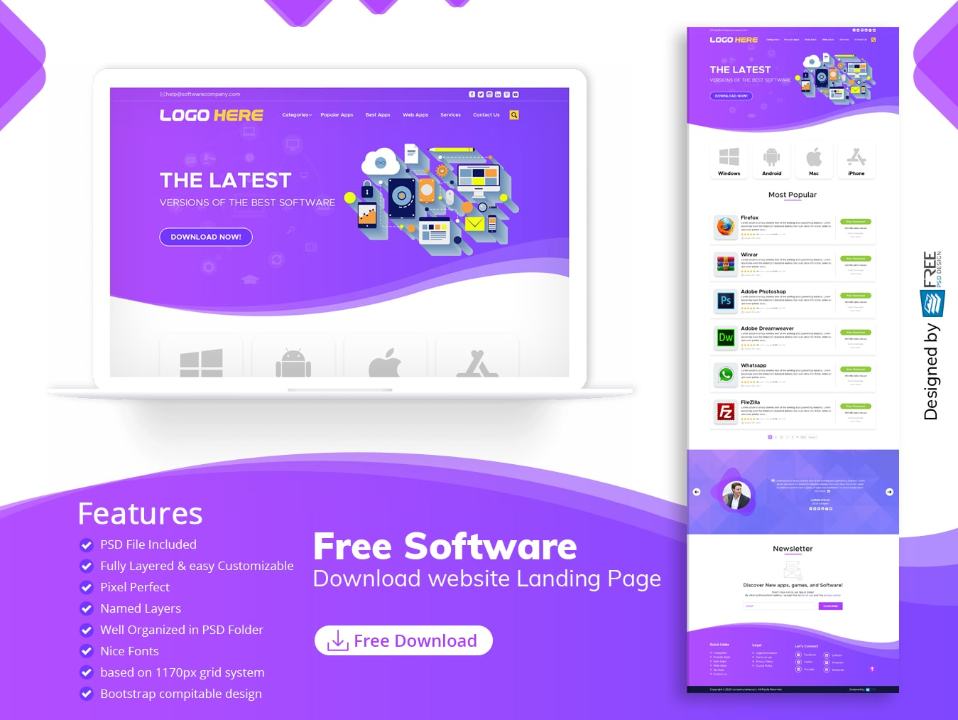 Free Software download website Landing Page