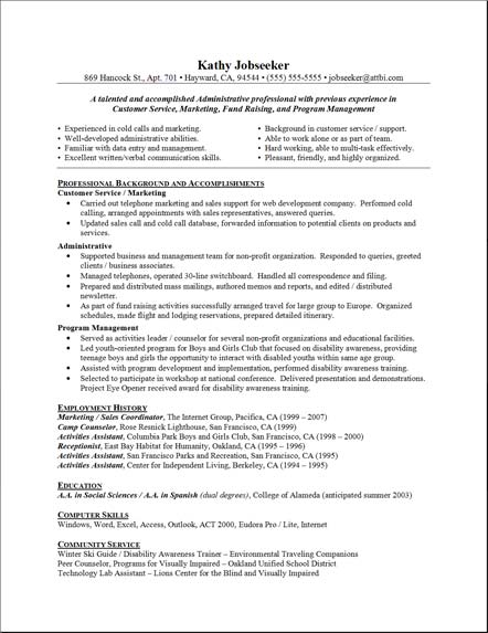 chronological resume example administrative assistant choose - Resume Example Administrative Assistant