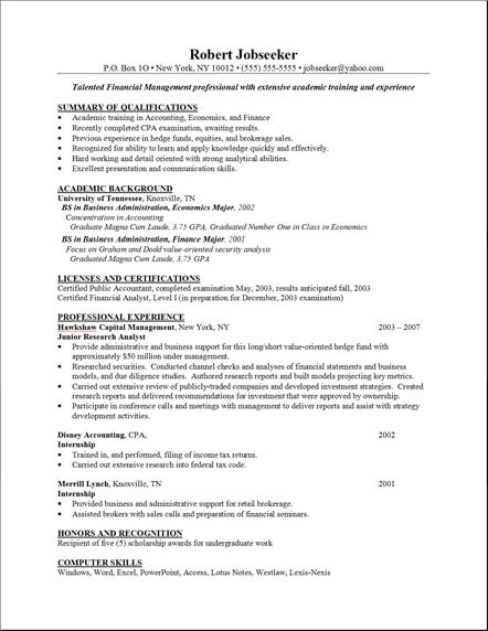 sample resume template resume example