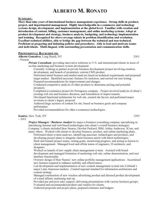 international business international business sample resume