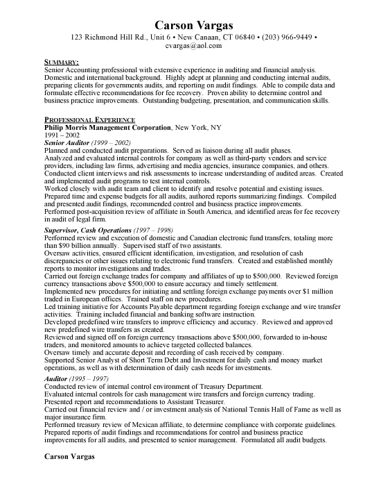 Sample Resume For Auditor. Auditor Resume Samples Visualcv Resume