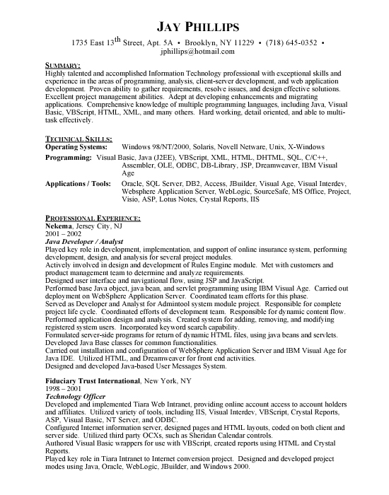 Resume For Computer Programmer. Resume Template Computer
