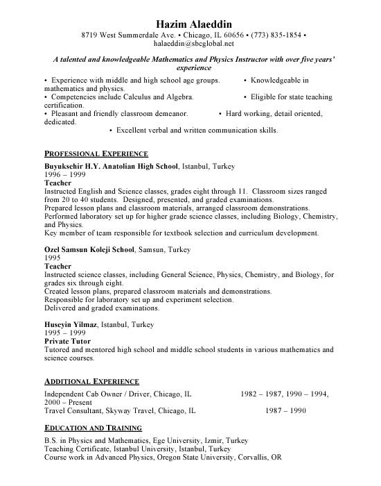 teacher resume sample free resumes