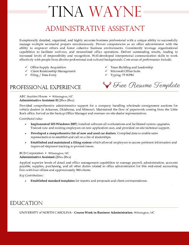 Executive Assistant Resume Samples hr administrative assistant resume sample Administrative Assistant Resume Template Resume Templates