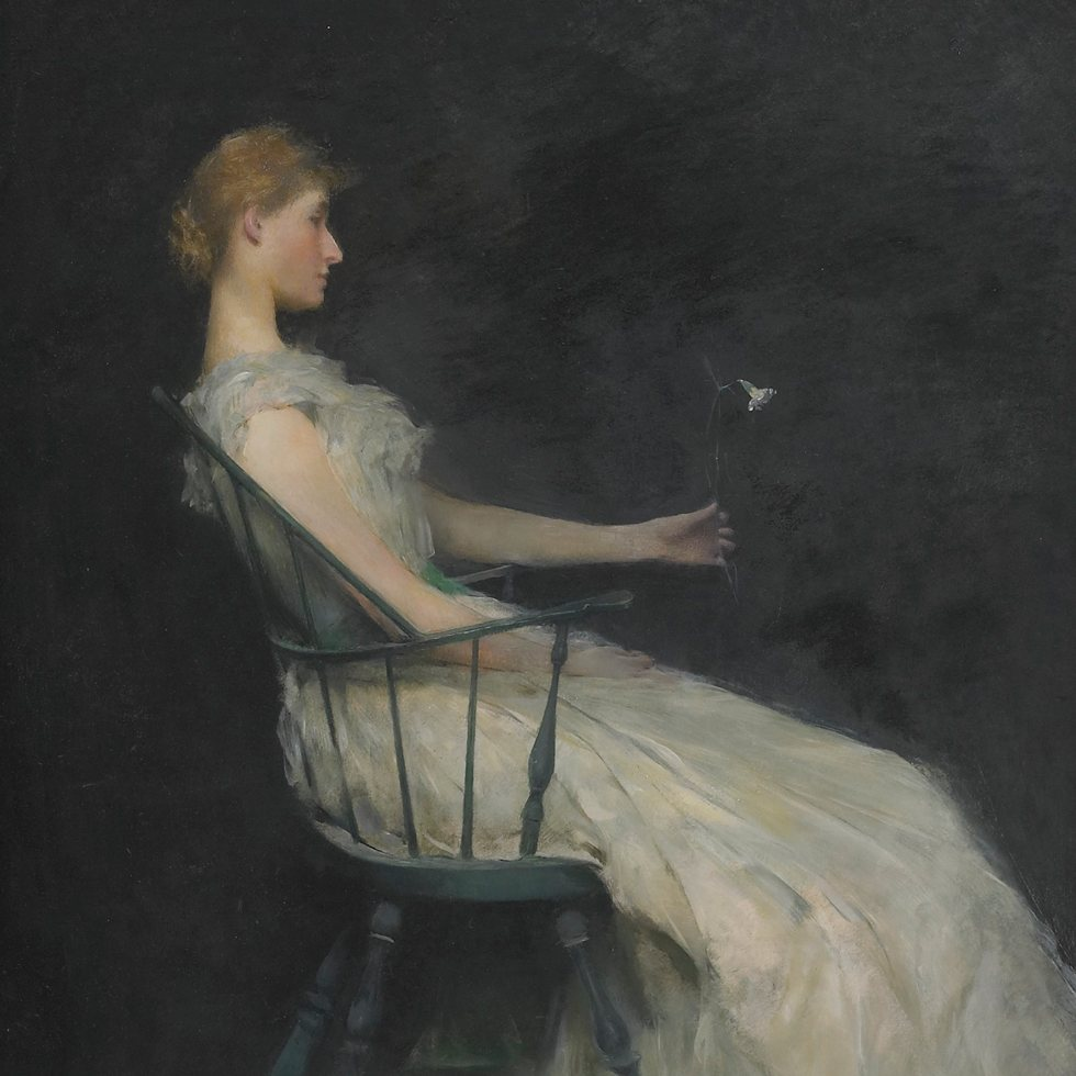 painting of woman sitting in chair holding a carnation