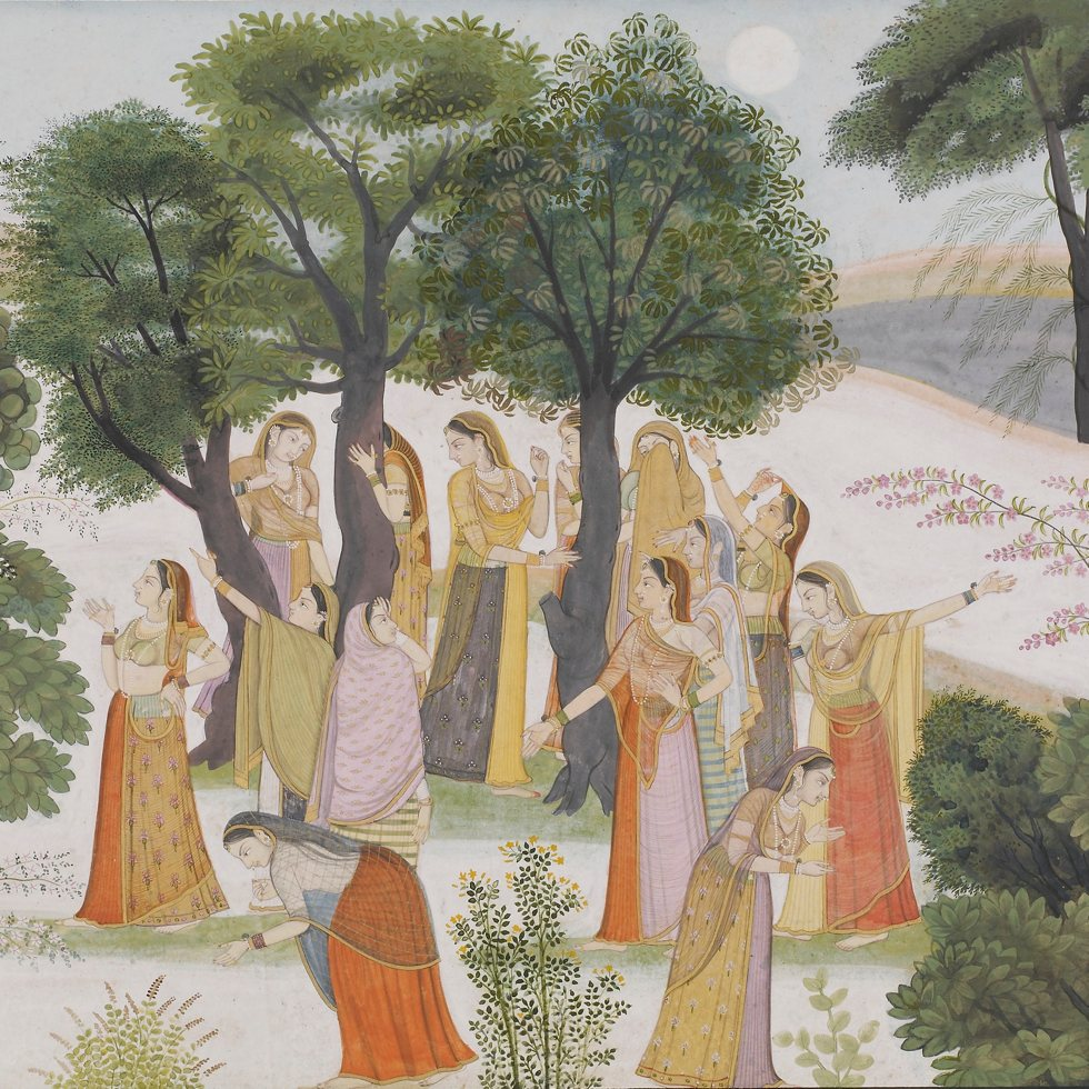 The Gopis Search for Krishna from a Bhagavata Purana; Punjab Hills, India, ca. 1780; opaque watercolor and gold on paper; Purchase, F1930.84