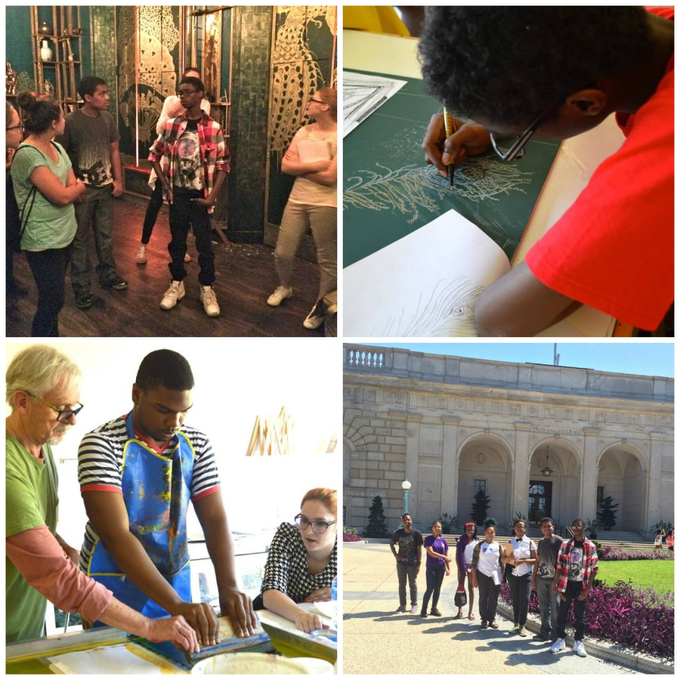 from top left, Teens in Filthy Lucre, working on the project, arriving at the Freer, with printmaker XX