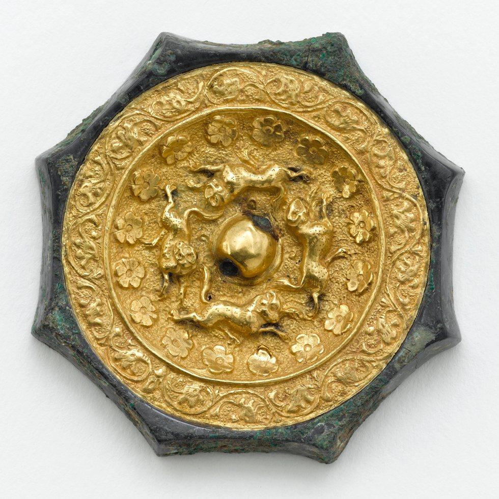 Octagonal mirror with animals, flowerets, and floral scrolls