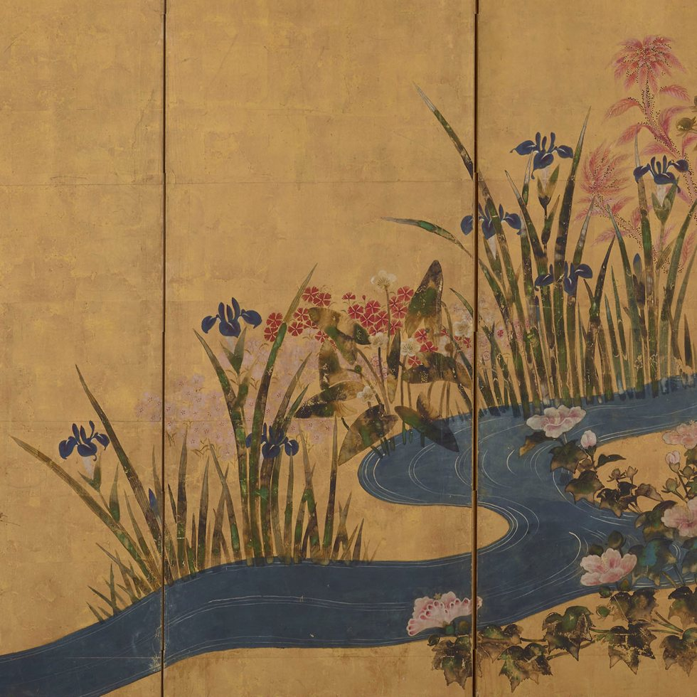 Flowers and a brook - Color over gold on paper