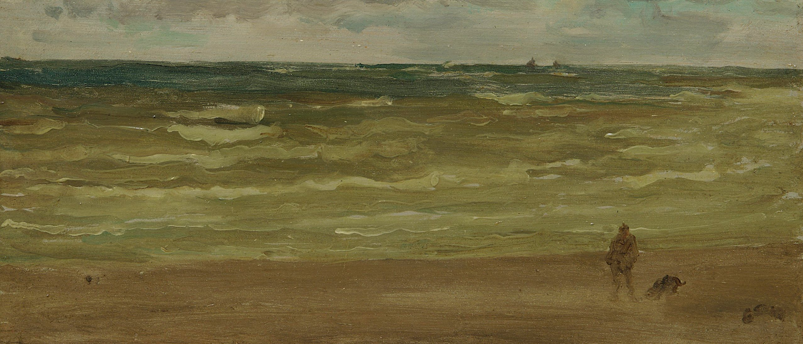 Oil on wood panel painting of the ocean