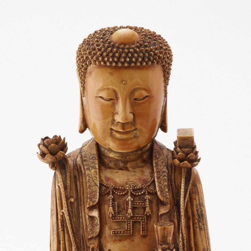 Possibly Bodhisattva Avalokitesvara (Guanyin) in the guise of a Buddha