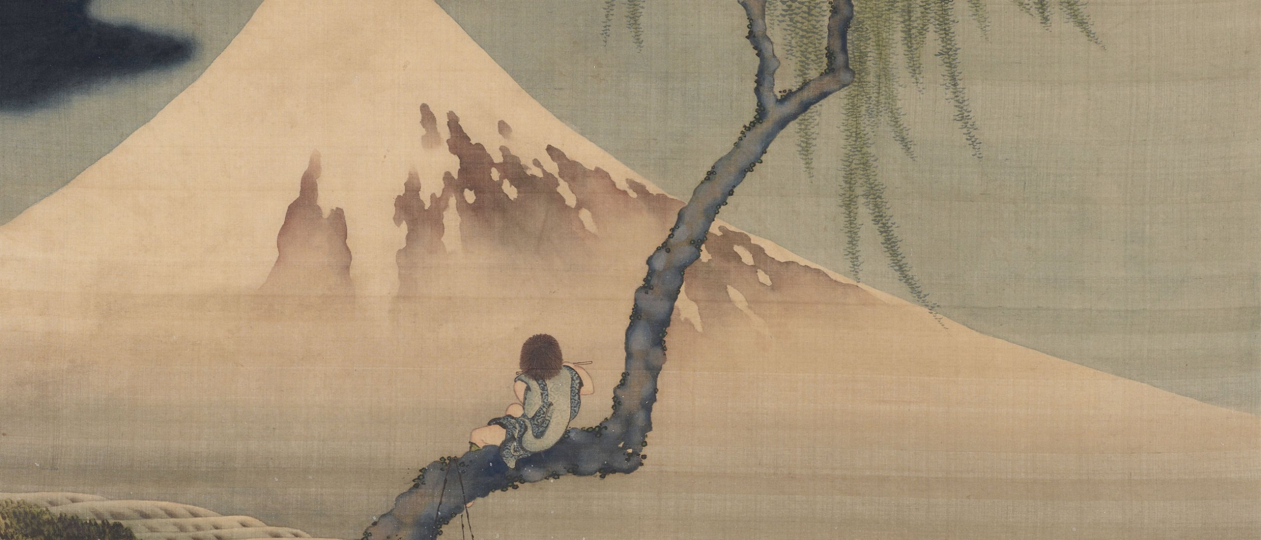 Detail of painting of boy perched in tree viewing Mt. Fuji, dwarfed by the mountain's foot, slope, and peak, that fill the picture plane.