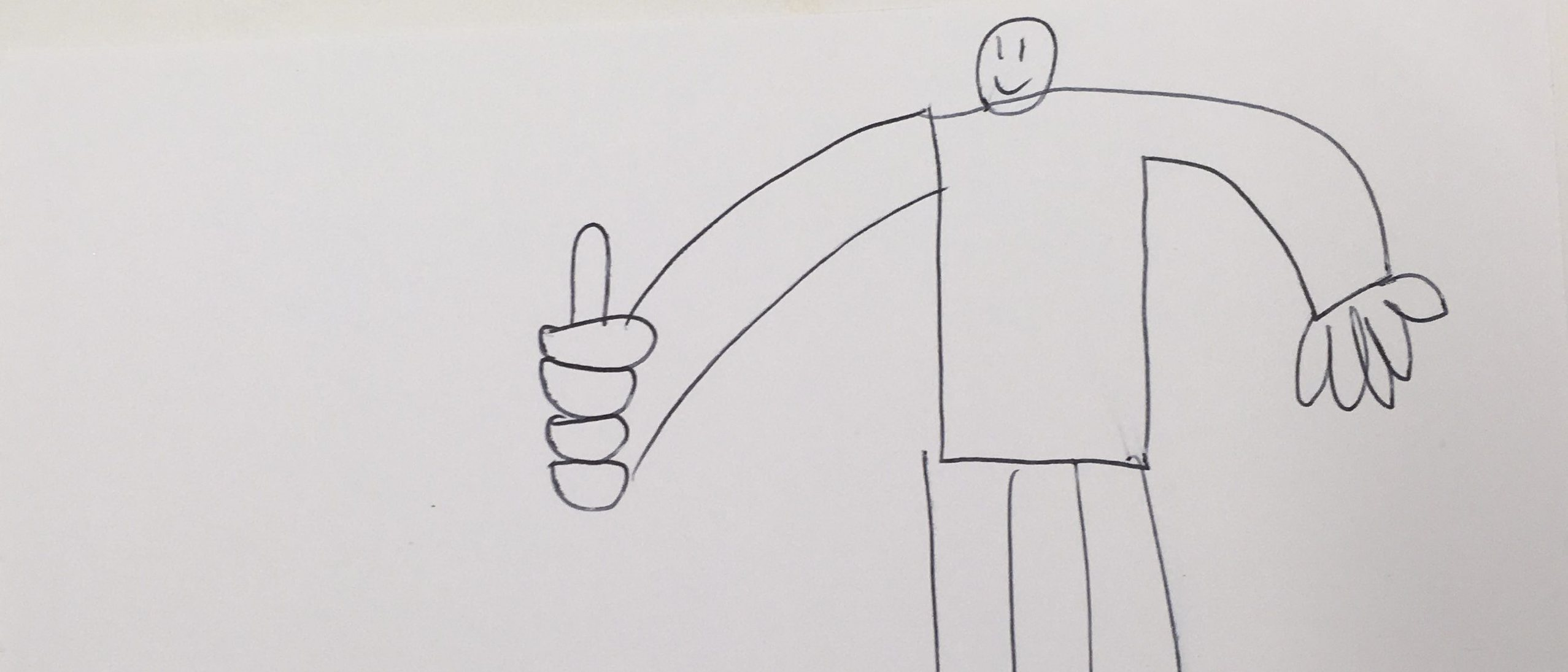 child pencil drawing of figure with thumbs up