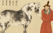 detail from painting of horse and man