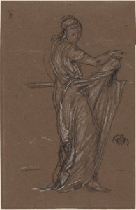 drawing of a draped female figure