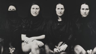 a black and white image of three women sitting, detail from Untitled by Jananne Al-Ani