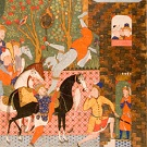 Colorful and intricately painted page from Falnama (Book of Omens)