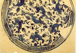 Detail of a roundel painted dragons