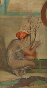 painting of a girl with a cherry blossom