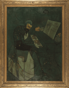 painting of a figure playing piano
