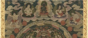 Top detail of Lamaist mandala, focusing on deities in the cloudy plane of heaven.