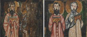 Right: Detail image, St. Matthew and St. John; Left cover of The Washington Manuscript of the Gospels, F1906.297. Left: Detail image, St. Mark and St. Luke; Right cover of The Washington Manuscript of the Gospels, F1906.298.