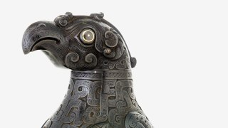 detail, metalwork bird/drinking vessel