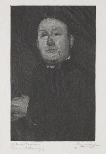 A black and white image of a painting of a serious man