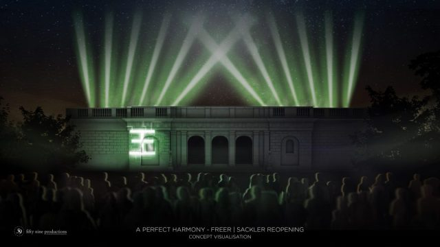 The Chinese character for Jade projected on the front of the freer (rendering)