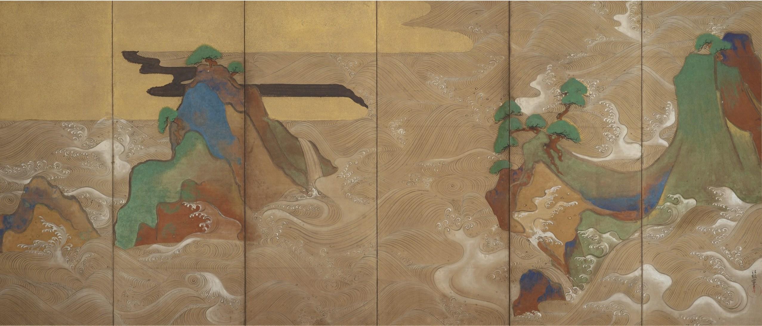 Detail image, Waves at Matsushima; Tawaraya Sōtatsu, (act. ca. 1600–40); pair of six-panel folding screens; ink, color, gold, and silver on paper; Freer Gallery of Art, F1906.231-232