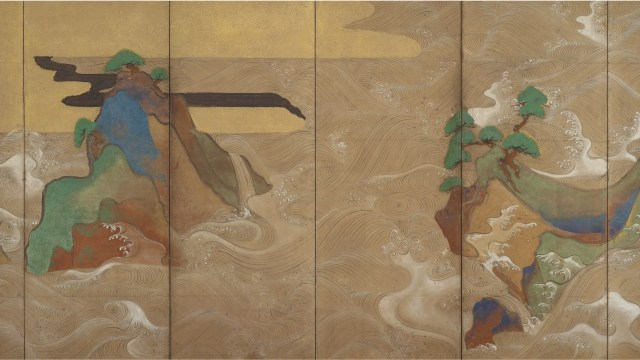 Detail image, Waves at Matsushima; Tawaraya Sōtatsu, (act. ca. 1600–40); pair of six-panel folding screens; ink, color, gold, and silver on paper; Freer Gallery of Art, F1906.231-232