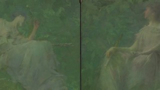 Detail image, The Four Sylvan Sounds (The Hermit Thrush and the Sound of Running Water); Thomas Dewing (1851–1938); United States, 1896–97; Oil on wood panels; Gift of Charles Lang Freer; F1906.72–73