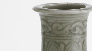 Detail image, Yaozhou ware vase; Vase; Northern Song dynasty, 11th-early 12th century; Stoneware with celadon glaze; Yaozhou ware; China, Shaanxi province, Tongguan county, Yaozhou kilns; Gift of Charles Lang Freer; Freer Gallery of Art F1919.90