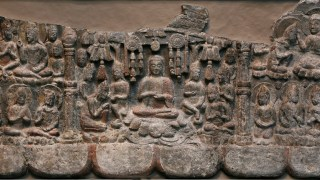 Detail image, Gathering of Buddhas and Bodhisattvas. China, Hebei province, Fengfeng, Southern Xiangtangshan Cave Temples, Cave 2. Northern Qi dynasty, 550–577. Limestone with traces of pigment. Gift of Charles Lang Freer, F1921.1
