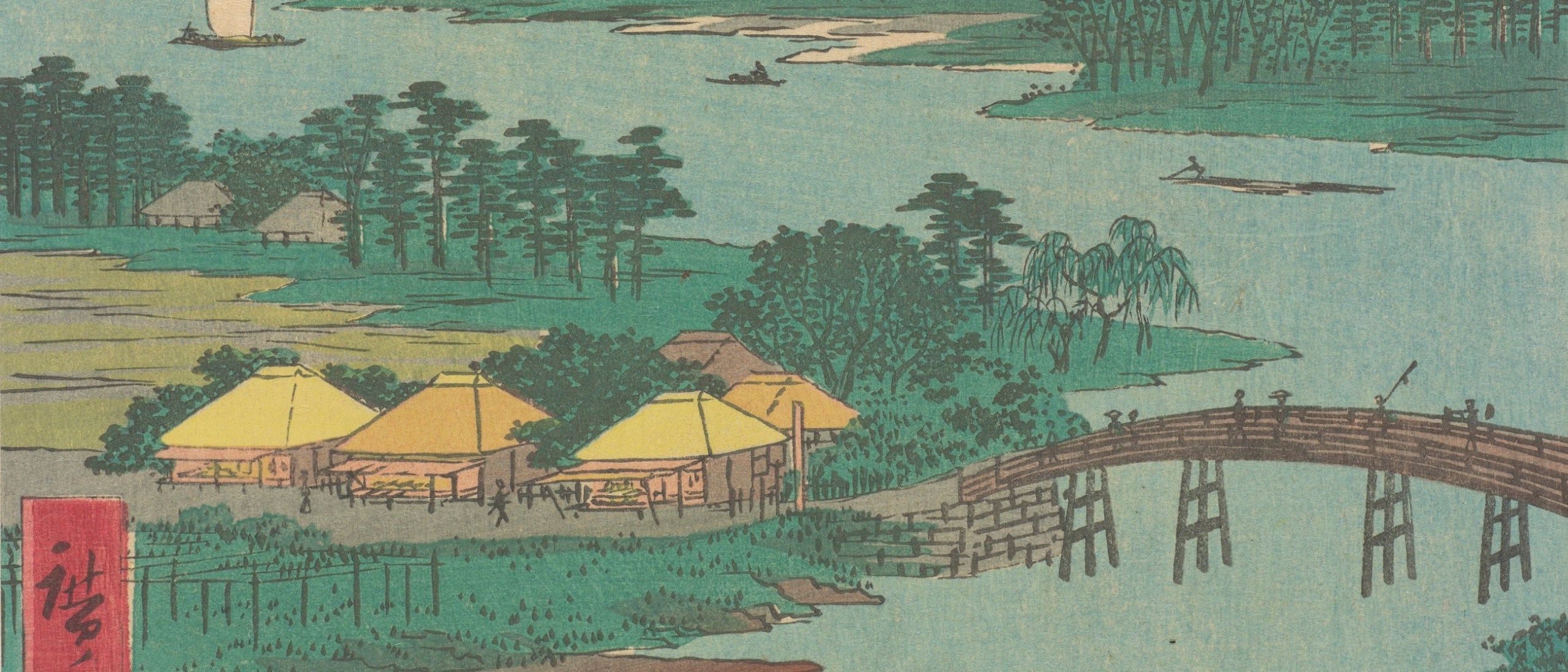Detail image, Kawasaki, from the series Famous Places of the Fifty-Three Stations; Utagawa Hiroshige (1797–1858); Japan, Edo period, 1855; one of a set of 55 woodblock prints; ink and color on paper; Gift of Victor and Takako Hauge, FSC-GR-705.3.