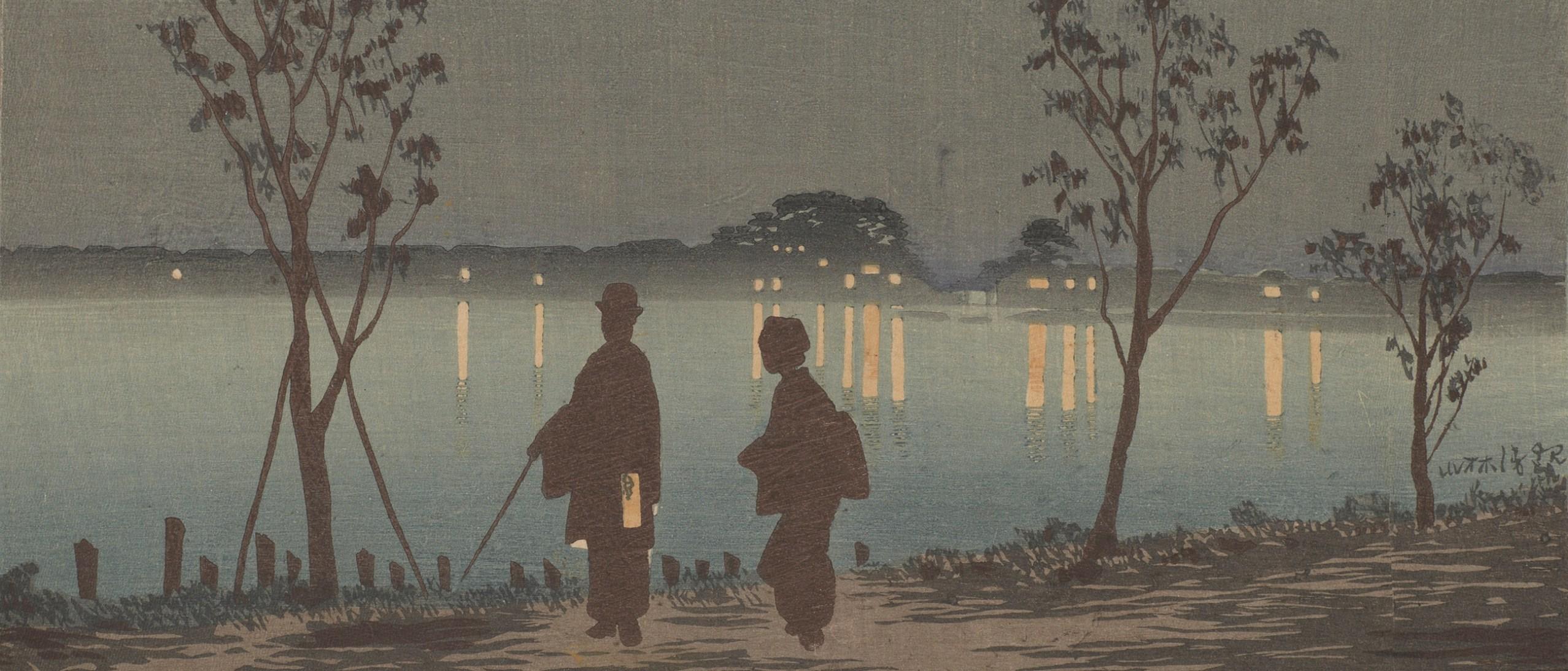 Detail image, Sumida River by Night 隅田川夜, Kobayashi Kiyochika; Japan, 1881; Woodblock print; ink and color on paper; Robert O. Muller Collection; S2003.8.1203