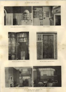 A yellowed series of photographs showing various views