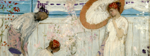 Painterly rendering of women on a balcony, wearing white, by Whistler.