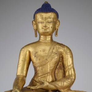 detail from The Historical Buddha, gilt copper with blue pigment, S1997.28