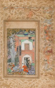 birds and animals and plants frame frame a detailed painting of Babur and several others in front of a building
