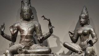 Detail photo, Shiva and Uma (Somaskanda); Figure; Chola dynasty, 12th century; Bronze; India, Tamil Nadu; Arthur M. Sackler Gallery; S1987.907a-e