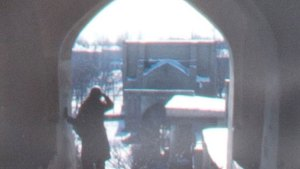 detail from a black and whtie photo, a man standing in an arched gate looking at a city