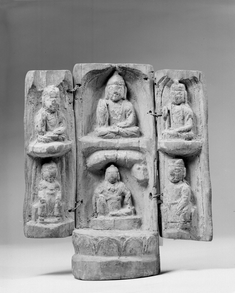 Photo, Wood portable folding Buddhist shrine. Six Dynasties period, 5th–6th century., H: 29.9 cm. (11 3/4 in.) Singer catalogue number: [1166].