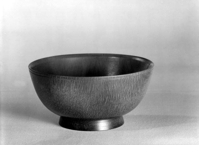 Photo, Rhinoceros horn bowl. Ming–Qing dynasty, 17th century., Rim diam: 9.4 cm. (3 11/16 in.) Singer catalogue number: [1672].