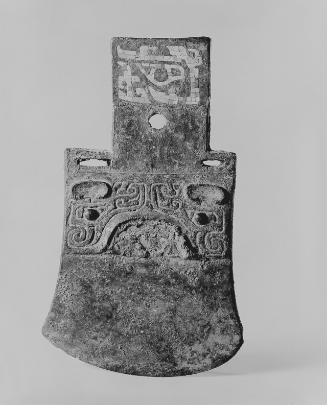 Photo, Bronze axe with turquoise inlay. Shang dynasty, 13th–12th century BCE., H: 17.6 cm. (7 in.) Singer catalogue number: [274].