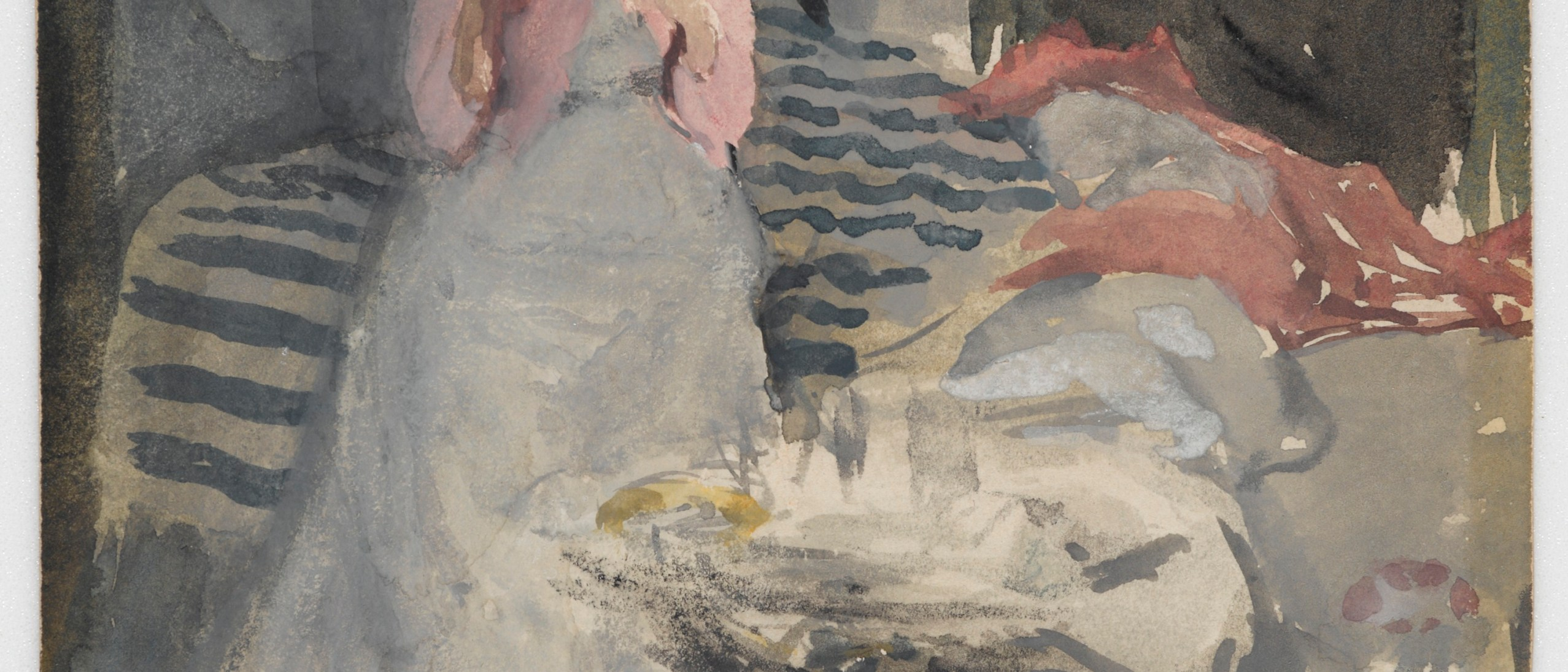 watercolor of a woman in a dress seated on the edge of a bed, reading a book. there is a round side table next to her
