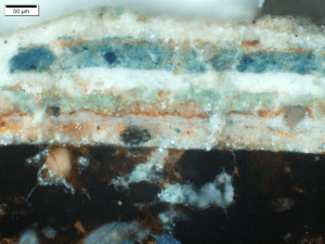 Figure S23 Cross section of paint layers from the decorative band on the Walters buddha, revealing multiple repaints