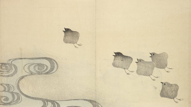 ink on paper of chicks and cloud/wave patterns