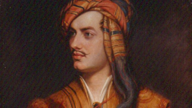 painting o a mustached young man wearing an orange striped headdress
